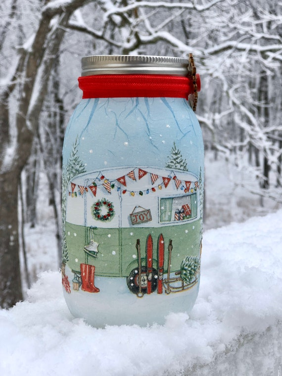 Lighted snowy camper jar, lighted jars, lighted bottles, Christmas jars, camper jar, Christmas decor
