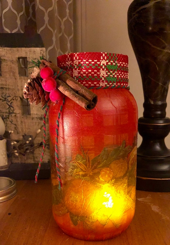 Red cinnamon lighted jar, lighted jars, lighted bottles, Christmas lighted jars, Christmas decor, jar lights