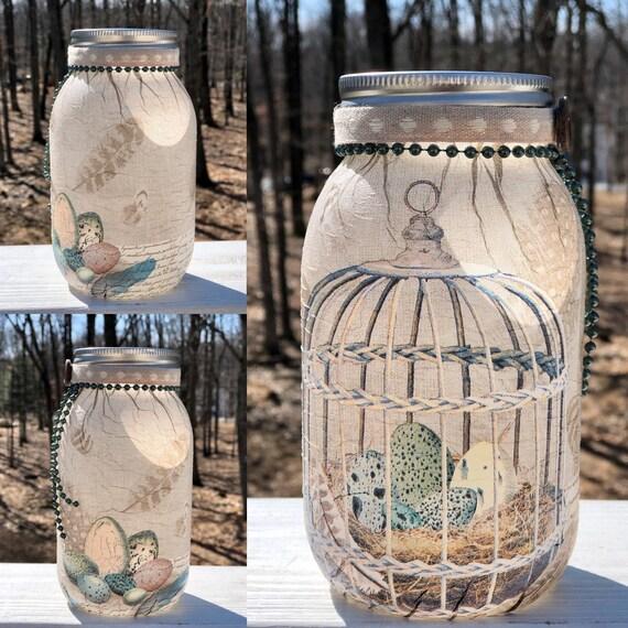 Speckled eggs in birdcage lighted jar, lighted jars, lighted bottles, jar lights, Easter decor