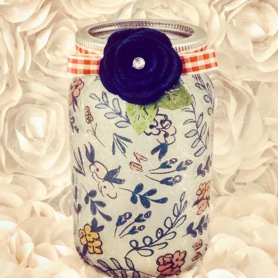 Navy blue flower lighted jar, lighted jars, lighted bottles, jar lights, flower jars