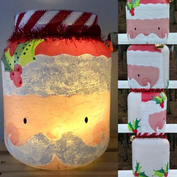 Chunky st. Nick lighted jar, lighted jars, lighted bottles, jar lights, lighted Christmas jars, Christmas jars