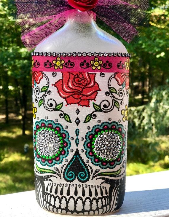 Large rose sugar skull lighted bottle , lighted bottles, lighted jars, sugar skull bottles, sugar skull decor