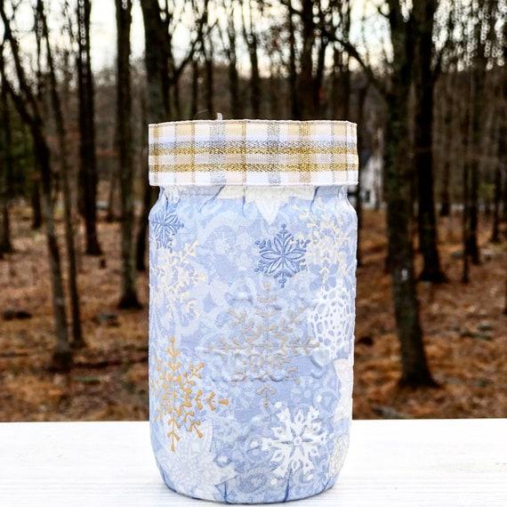 Lighted blue snowflake jar, lighted jars, lighted bottles, Christmas jars, winter decor, jar lights