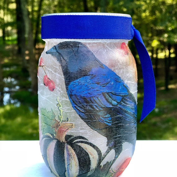 Black and blue raven fall bird lighted jar, lighted jars, lighted bottles, fall lighted jars, jar lights, fall decor