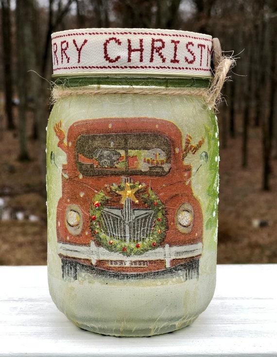 Red truck lighted jar, lighted jars, lighted bottles, jar lights, snowman jar, black lab jar, Christmas lighted jar, Christmas decor
