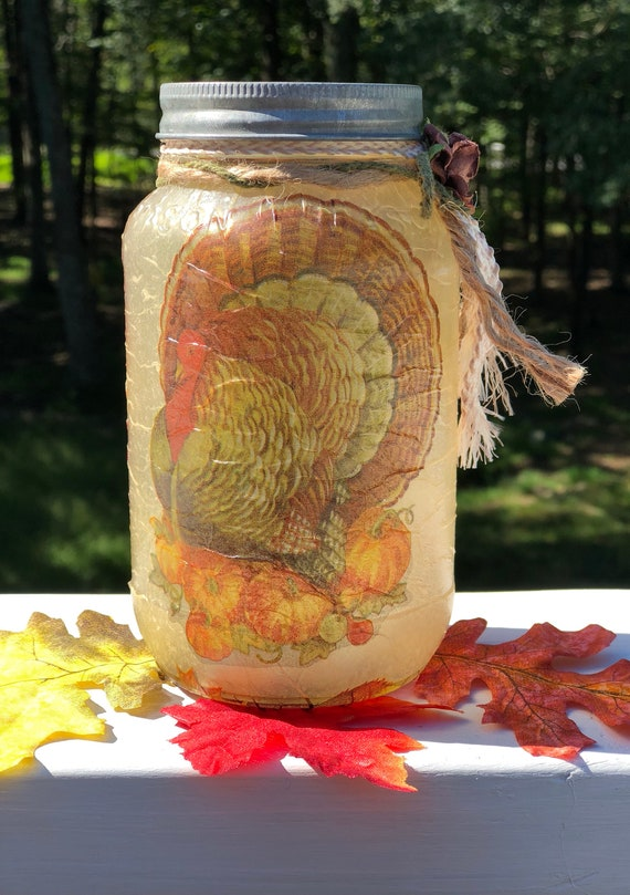Turkey lighted jar, lighted jars, lighted bottles, Thanksgiving jars, turkey jars, fall decor, fall lighted jars