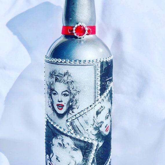 Marilyn Monroe lighted bottle, lighted jars, lighted bottles, bottle lights, jar lights