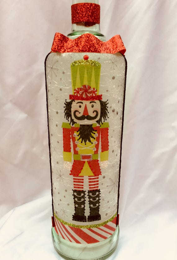 Lighted bottle, nutcracker bottle, lighted Christmas bottles
