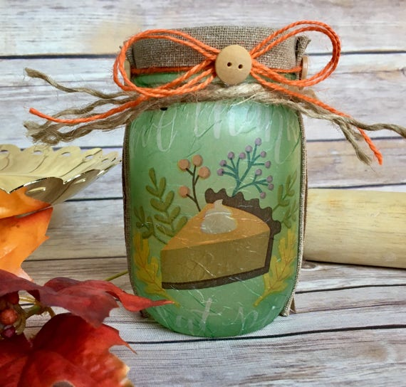 Pumpkin pie lighted jar, lighted jars, lighted bottles, jar lights