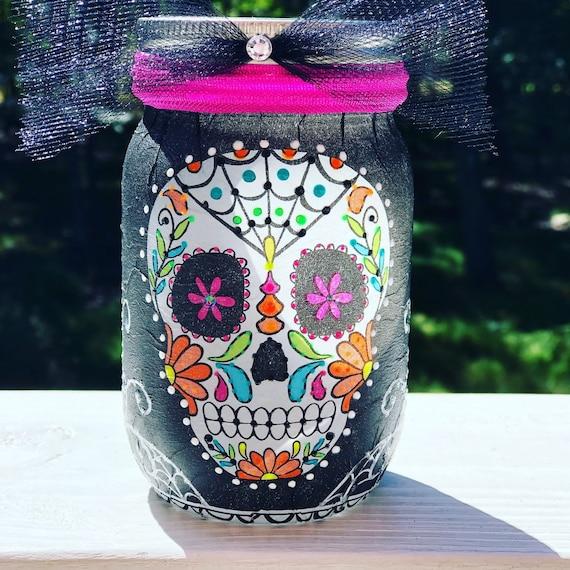 Pink eyes lighted sugar skull jar, lighted jars, lighted bottles, jar lights, sugar skull jar, day of the dead jar, dia de los muertos jar
