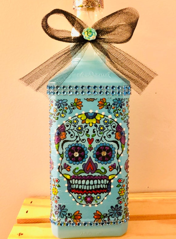 Blue lighted sugar skull bottle, lighted jars, lighted bottles, sugar skull bottle, dia de los muertos