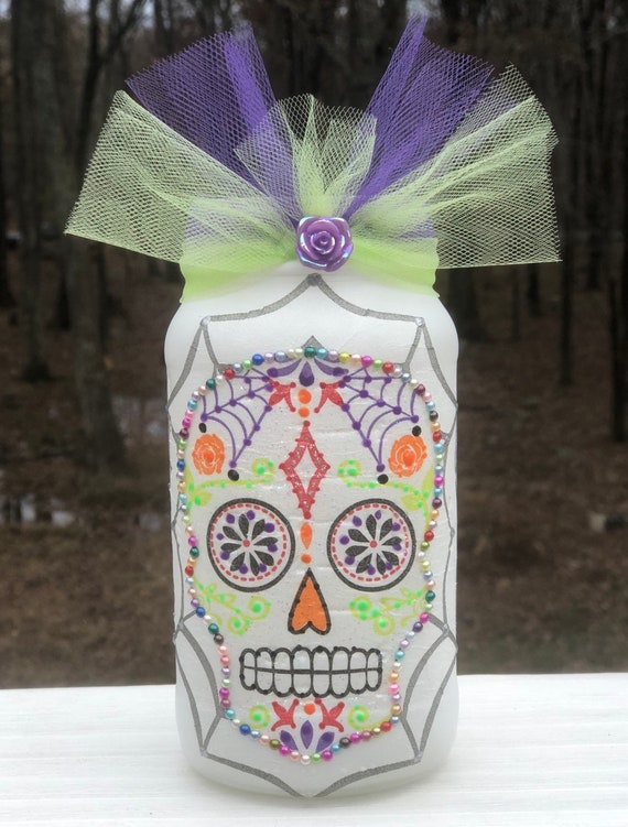 White sugar skull lighted jar, lighted jars, lighted bottles, sugar skull jar, lighted sugar skull jar, candy skull jar, jar lights
