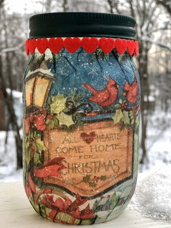 All hearts come home for Christmas lighted jar, lighted jars, lighted bottles, jar lights, Christmas jars