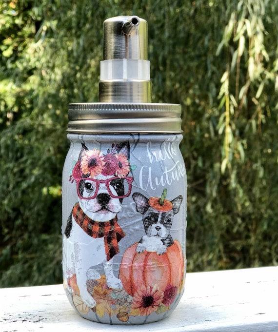 Hello autumn dog soap dispenser, jars, fall decor, dog decor, lighted jars, jar soap dispenser