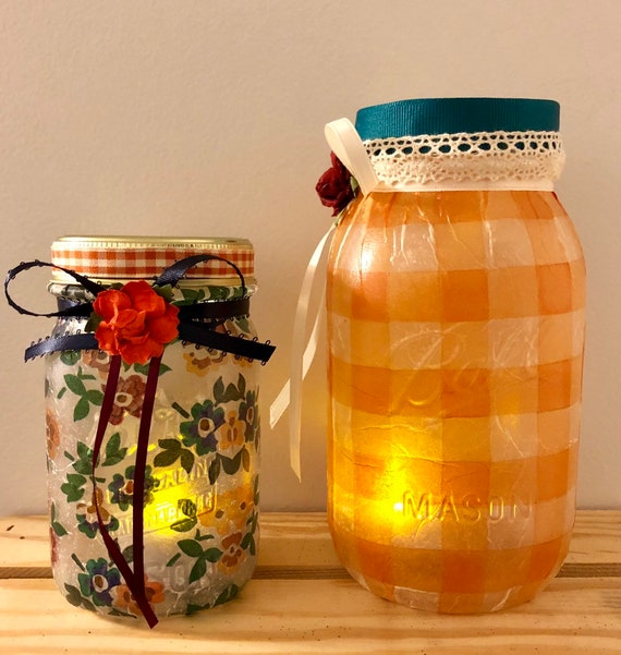 Checks and flowers lighted jars, lighted jars, lighted bottles, fall decor, Thanksgiving Day jars, Thanksgiving decor , jar lights