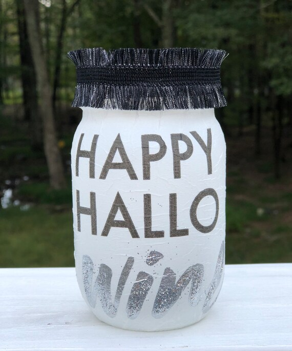 Happy hallowine Lighted Jar, Lighted jars, lighted bottles, Halloween decor, wine jar, jar lights, Halloween lighted jars