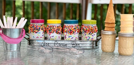 Ice cream bar jars, candy bar jars, lighted jars, candy bar jar set, dessert bar jar set, candy bar jar set, sprinkle jars