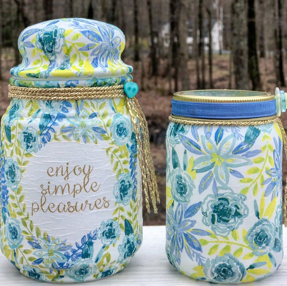 Enjoy simple pleasures lighted jar set, lighted jars, lighted bottles, jar lights, blue floral jars, floral decor lighted jars, jar decor