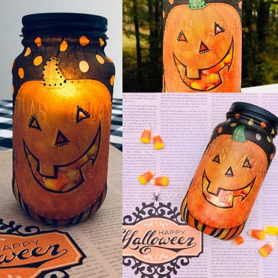 Candy Jack Lighted Jar, lighted Jars, Lighted Bottles, Halloween jars, Halloween decor, Jar Lights