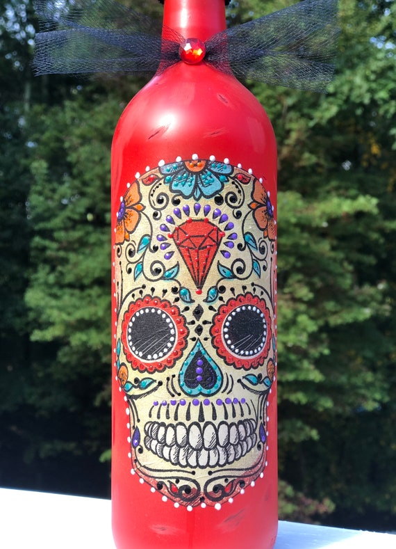 Coral red lighted sugar skull bottle, lighted jars, lighted bottles, bottles lights, dia de Los muertos, sugar skulls, night lights