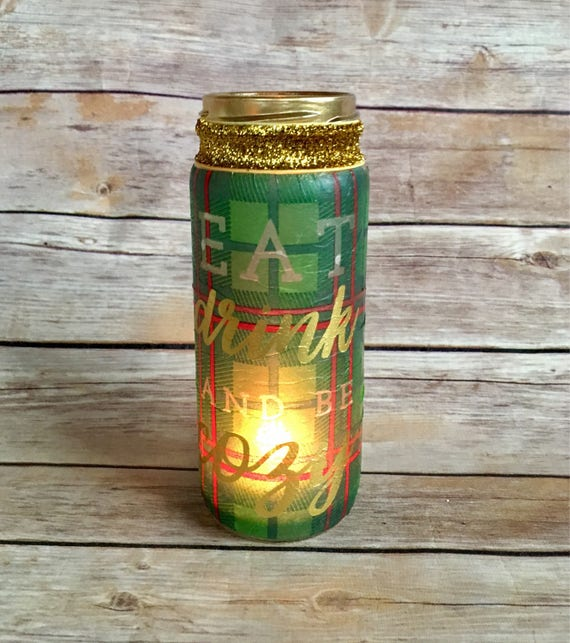 Plaid jar, Christmas lighted bottles, red and green jar