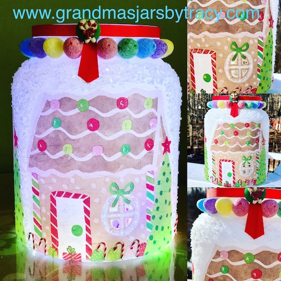 Lighted glittery sparkling gumdrop gingerbread house jar, lighted jars, Christmas jars, gingerbread jar, lighted bottles, night lights