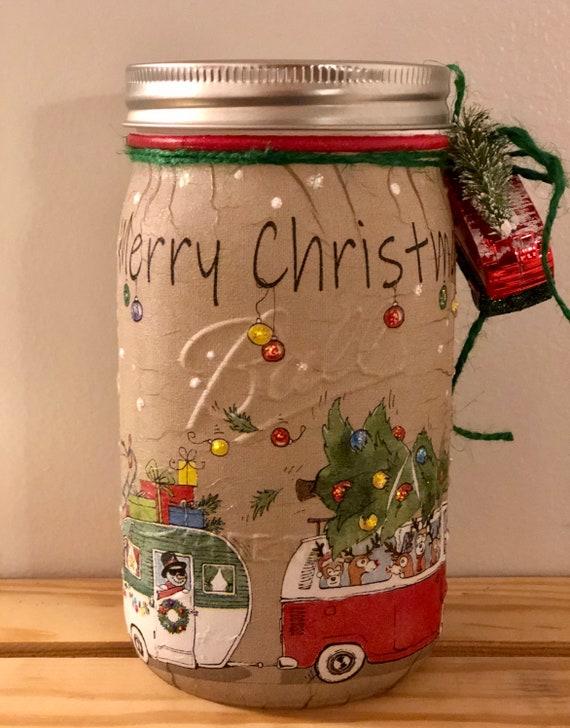 Lighted santa reindeer and snowman vw and camper jar, lighted jars, jar lights, lighted Christmas jars, Christmas decor