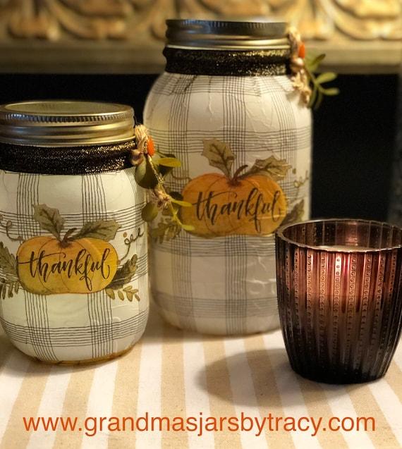 Thankful jar set, lighted jars, lighted bottles, jar lights, thanksgiving jars, thanksgiving decor