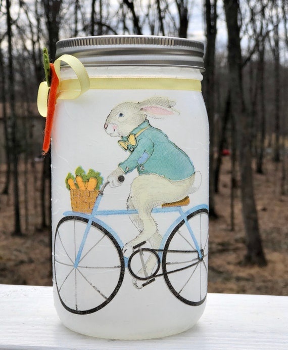 Cycling PC lighted bunny jar, lighted jars, lighted bottles, jar lights, lighted bunny jar, Easter jar, bunny jar