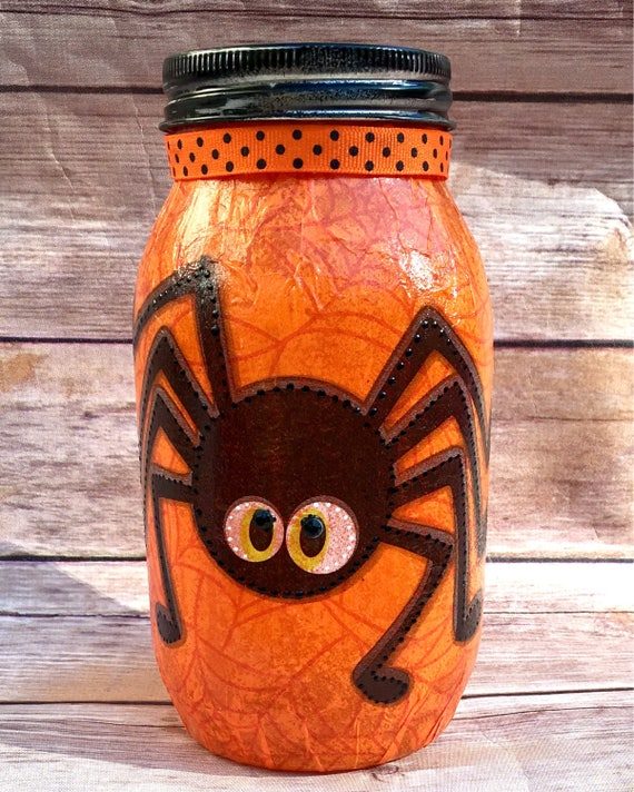 Itsy bitsy bottle, spider mason jar, halloween mason jar, halloween decor, lighted bottles, lighted mason jars