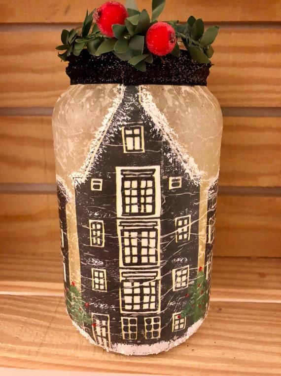 Holiday village lighted jar, lighted jars, lighted bottles, Christmas jars, jar lights, Christmas decor