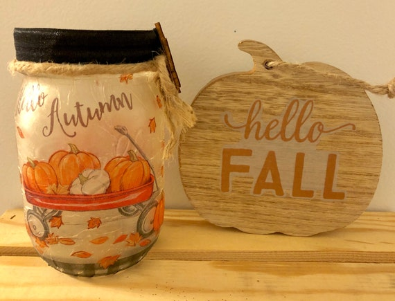 Hello autumn jar, lighted jars, lighted bottles, fall decor, jar lights