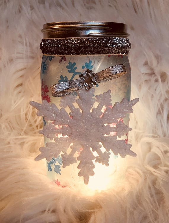 Snowflake jar, lighted mason jars, lighted bottles, lighted Christmas jars, lighted jars
