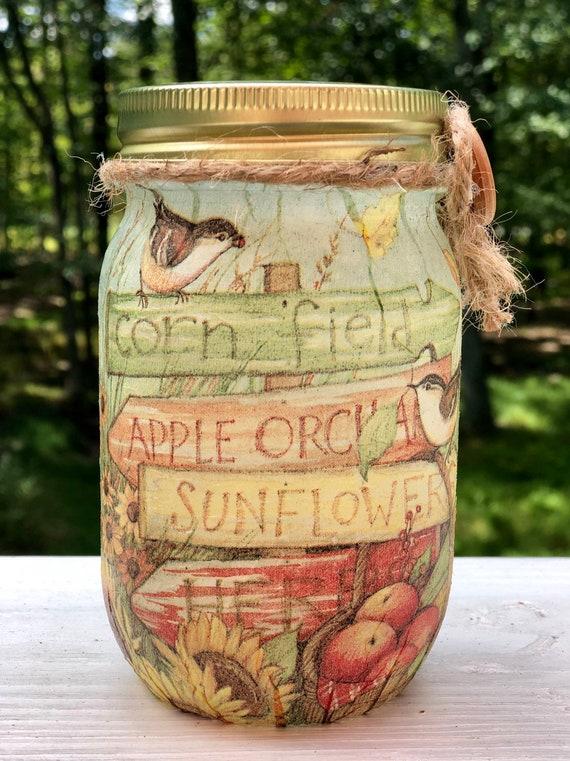 Corn field lighted jar, lighted jars, lighted bottles, jar lights, lighted fall jars, apple jar, sunflower jar