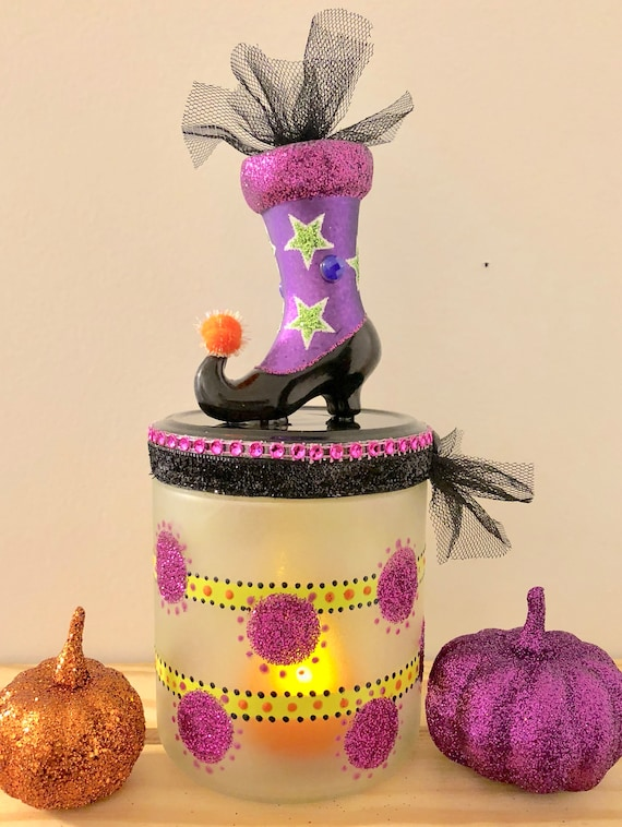 Witch boot lighted jar, lighted jars, lighted bottles, jar lights, Halloween lighted jars, Halloween decor