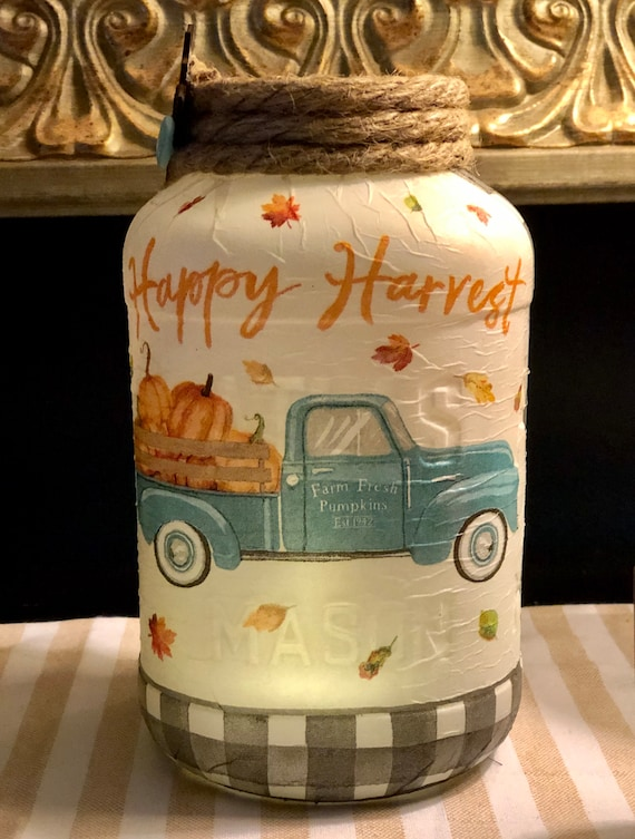 Happy harvest lighted blue truck jar, lighted jars, lighted bottles, jar lights, thanksgiving jars, harvest jars, blue truck jar