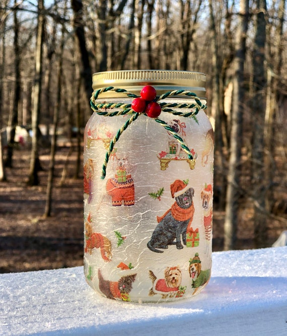 The twelve dogs of Christmas lighted jar, lighted jars, lighted bottles, jar lights, lighted Christmas jars, Christmas decor