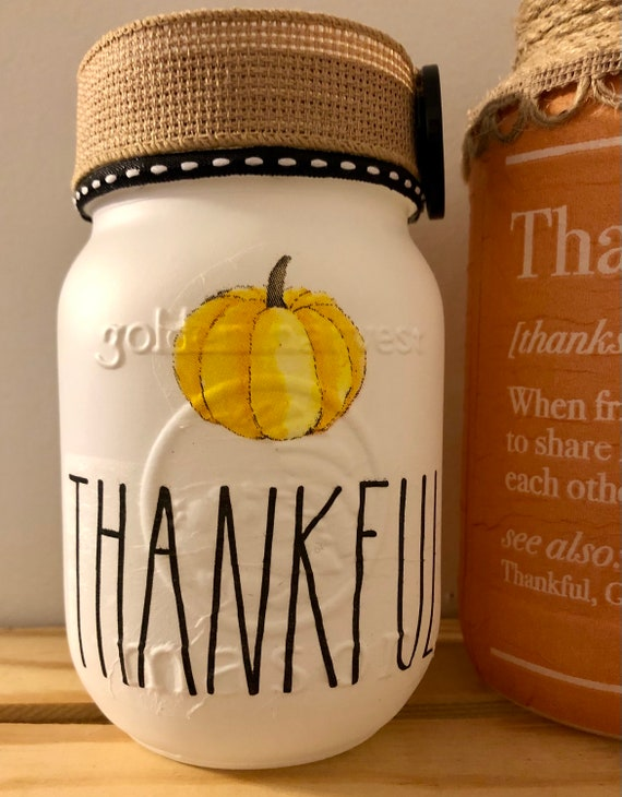 Thankful lighted jar, lighted jars, lighted bottles, thanksgiving jars, jar lights, thanksgiving decor