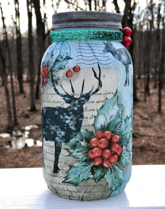Deer holly berry lighted jar, lighted jars, lighted bottles, jar lights, lighted Christmas jars, Christmas decor, lighted deer jars