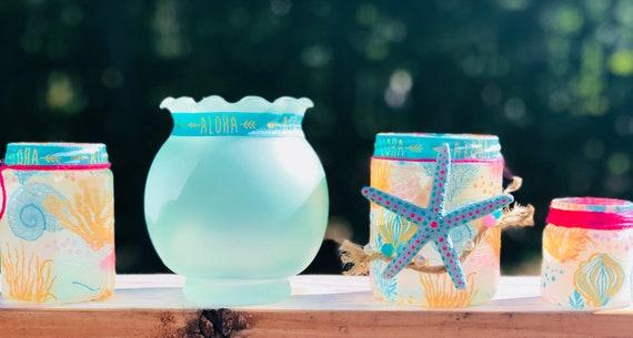 Aloha mason jar, lighted jars , lighted bottles , bottle lights, beach jars