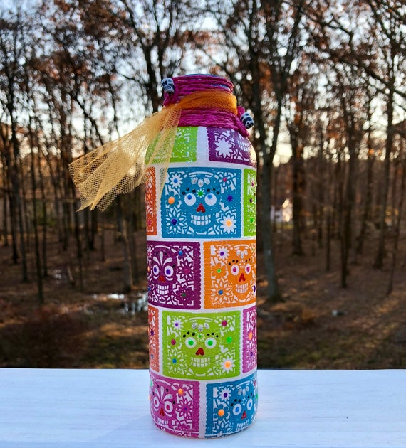 Neon lighted sugar skull jar, lighted jars, lighted bottles, jar lights, sugar skull bottle, sugar skull decor