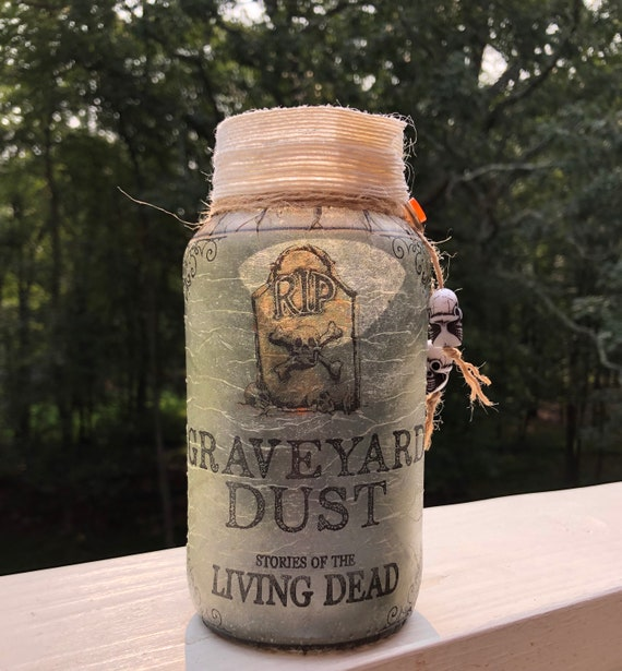 Graveyard dust lighted jar, lighted jars, lighted bottles, jar lights, lighted Halloween jars, Halloween decor, night lights