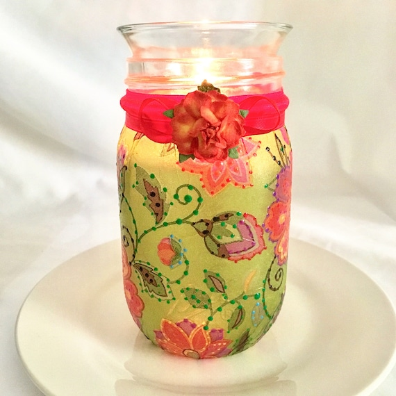 Flower jar, lighted jars, lighted bottles, mason jar lights, green mason jar