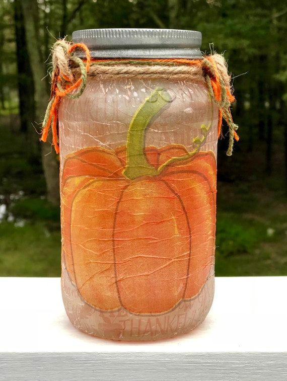 The thankful pumpkin lighted jar, lighted jars, lighted bottles, jar lights, thanksgiving decor, pumpkin jar, lighted pumpkin jar
