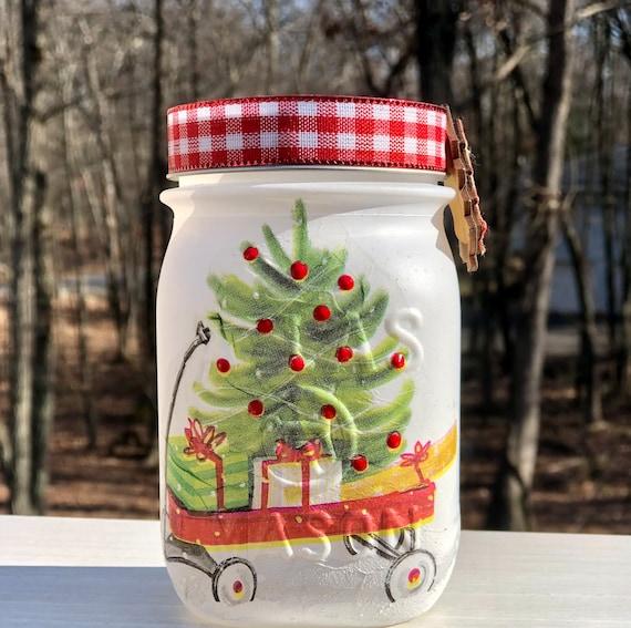 Red wagon lighted Christmas jar, lighted jars, lighted bottles, jar lights, lighted Christmas jar, Christmas jars