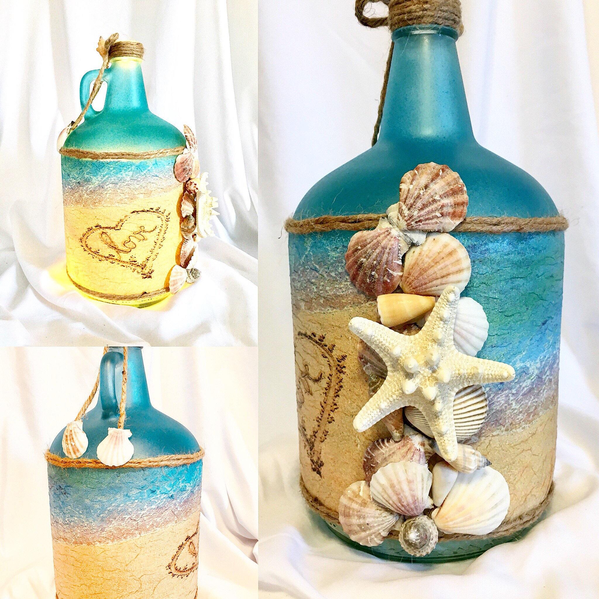 Lighted Seashell Bottle Lighted Bottles Bottle Lamps Beach
