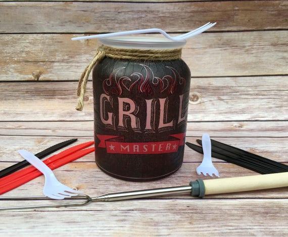 Grill master jar, BBQ decor, bbq mason jar, lighted bottles, mason jar lights, lighted jars