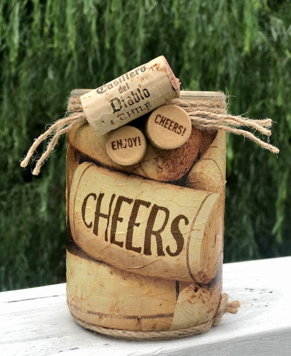 Lighted cheers jar, cheers lighted jar, wine cork jar, jar lights, wine cork holder