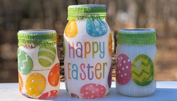 Happy Easter glittery egg lighted jar set, lighted jars, lighted bottles, jar lights, Easter jars