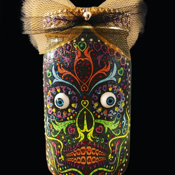 3D lighted sugar skull jar, lighted sugar skull jar, lighted jars, lighted bottles, jar lights, night lights